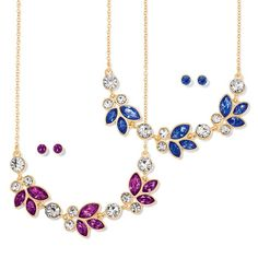 Goldtone necklace with vibrant faux stones in leaf shapes across the front. Set comes in your choice of sapphire-color or amethyst-color. Includes matching stud earrings. Regularly $19.99, buy Avon Jewelry online at http://eseagren.avonrepresentative.com