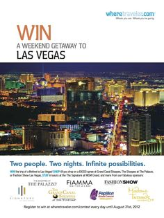 New Where Weekend Getaway to #LASVEGAS   Stay in luxury at The Signature at @MGM Grand, shop til you drop at The Grand Canal Shoppes & The Shoppes at The Palazzo, dine at Fiamma Trattoria & Bar, explore the city Madame Tussauds Las Vegas, Papillon Grand Canyon Helicopters and much more!  Sign up by August 31 at www.wheretraveler.com/contest  #travel #where