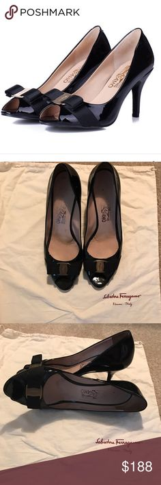 Salvatore Ferragamo patent peep toe pumps! Sz 10 Salvatore Ferragamo black patent leather peep toe pumps - size 10 Smooth leather, signature ferragamo bow with name plate & 3 inch heels. These shows are BEYOND comfortable and currently retail between 5-600. They have some wear to them however a significant amount of life left & in great condition, only marks in the leather is nicks in each heel which can be repaired by a shoe place / cobbler (shown in pic) Salvatore Ferragamo Shoes Heels