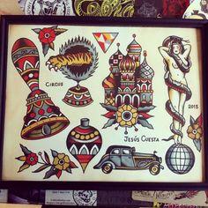 traditional tattoo - vintage car tattoo - indian tattoo