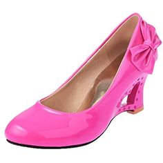 c14d9ac47a5 AIMTOPPY Women s Heart-shaped High-heeled Wedge Heel Office Wedding Wedges  Butterfly Shoes (US 8.5