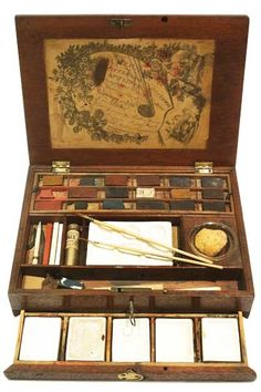 Watercolour Box 1796-1827. Original colours - glass water pot, five china mixing tiles and replacement china palette. Watercolour painting was considered a ...