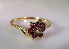 1990s, 10K Ruby Ring,Ruby Flower Ring,Petite Flower Ring,Ruby Stacking Ring,Ruby & Diamond Ring,Genuine Ruby Ring,Vintage Ring – Size 6.75 by CarolsVintageJewelry on Etsy