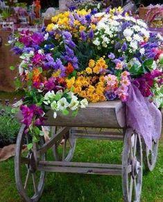 A flower cart. Beautiful Rose Flowers, Beautiful Gardens, Beautiful Flowers, Garden Art, Garden Design, Garden Ideas, Deco Nature, Flower Cart, My Secret Garden