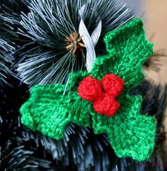 Free Knitting Pattern for Holly Ornament