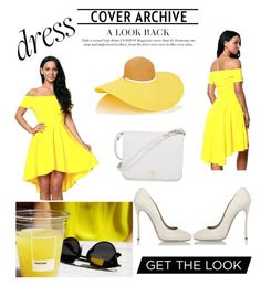 """""""Spring"""" by emrah-sekic ❤ liked on Polyvore featuring Eugenia Kim, Dsquared2, Furla, white, yellow and offshoulderdress"""