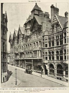 King Street, with its distinctive buildings by Watson Fothergill, was created in the after clearing the infamous slums in the Rookeries Nottingham Castle, Nottingham City, English Architecture, Industrial Architecture, Local History, Family History, Old Street, Vintage London, Slums