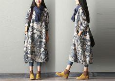 Kaftane - Frauen-Muster-Kleid mit Taschen - ein Designerstück von JunLee bei DaWanda