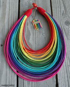 Items similar to Rainbow Summer yarn-wrapped necklace / tribal / hippie / bohemian / silk / rainbow / colorful on Etsy Tribal Necklace, Beaded Necklace, Handmade Jewelry, Unique Jewelry, Handmade Gifts, Pride Outfit, Hippie Bohemian, Rainbow, Etsy