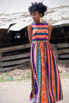 Kitenge dress-I need this dress for my honeymoon African Attire, African Wear, African Dress, African Inspired Fashion, African Print Fashion, African Prints, Look Fashion, Fashion Models, Womens Fashion