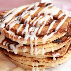 Chocolate Cinnamon Roll Pancakes with Cream Cheese
