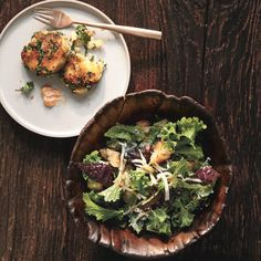 Mashed potatoes take on a new form in this delicious dish. A mixture of mashed potatoes and wilted kale is shaped into patties and pan-fried, then paired with a dressed-up mayo. Serve as a first course or with a salad for a light lunch.