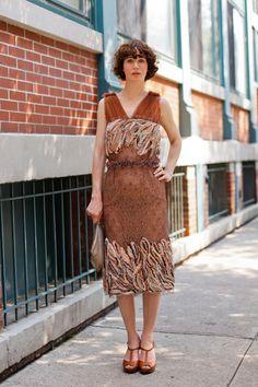 Miranda July in a lovely dress