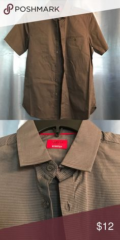 Gray striped SS button up slim fit Alfani slim fit button up top Alfani Shirts Casual Button Down Shirts