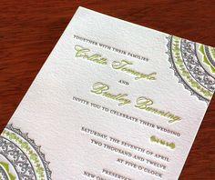 indian mandala letterpress wedding invitation by invitations by ajalon