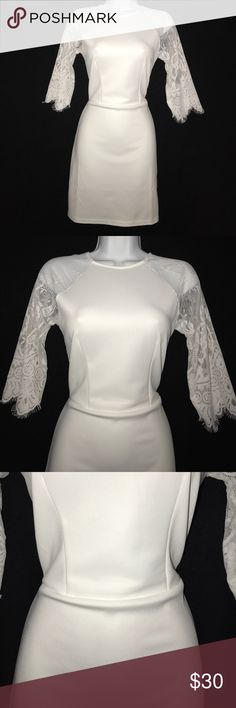 "Wei Ye Na Dress Figure hugging and tight cling fit.  Absolutely beautiful on!!  Length is 31in"".  Lace sleeves and see through back.  Slightly off white. Wei Ye Na Dresses Midi"