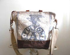 Fulton grain seed sack   carryall   weekend bag satchel   large   eco vintage fabrics