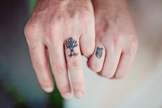 Cute couples tattoo of a tree and an owl on the ring fingers. Love the owl, best small owl tat I've seen yet