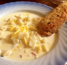 Classic creamy cauliflower soup with bacon n' cheese.