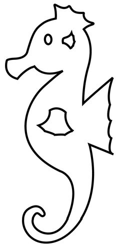 Seahorse Template - Animal Templates Seahorse Shape Templates, Crafts & Colouring Pages Seahorse Outline, Seahorse Crafts, Animal Outline, Seahorse Art, Ocean Crafts, Fish Crafts, Seahorses, Animal Templates, Shape Templates