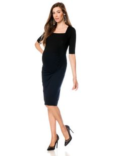 Destination Maternity Isabella Oliver Elbow Sleeve Side Ruched Maternity Dress