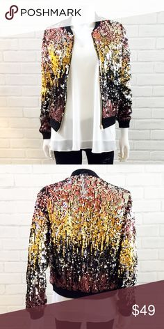 Sequin Ombré Bomber Jacket This piece is great with a short skirt, black bralette or jeans and a t-shirt. Dress your outfit up or down with this fun whimsical jacket. Jackets & Coats