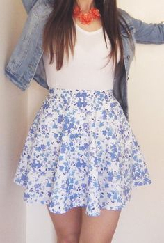 Blue Floral High Waisted Mini Skirt by LittleSewingStudio on Etsy