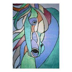 Metallic Horse in Blue Poster