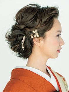 Side Bridal Makeup, Bridal Hair, Wedding Hairstyles, Cool Hairstyles, Up Styles, Hair Styles, Japanese Wedding, Hair Arrange, Hair Setting