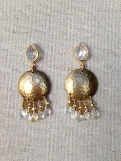 Quartz Stud Earring with Hammered Brass and Citrine and Gold Pyrite Wire Wrapped Charms by Goldenstrand Jewelry