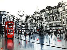 Paul Kenton - London 20 City Landscape, Urban Landscape, Paul Kenton, London Architecture, Architecture Art, London Dreams, London Illustration, Bus Art, Charcoal Art