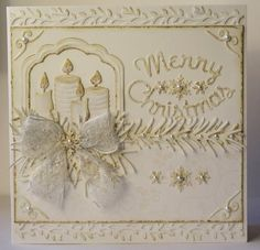White christmas card with die cuts