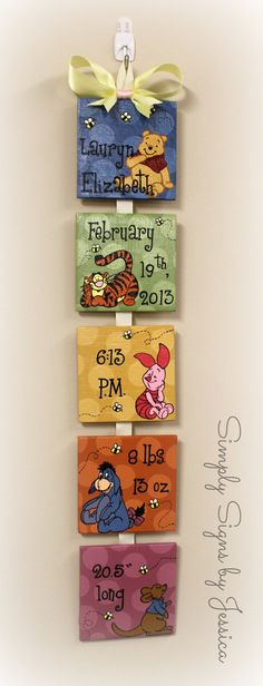 Winnie the Pooh Style Birth Announcement for baby's nursery $50