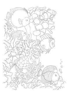 the drawing before it became color Seahorse Shells Ocean Coloring pages colouring adult detailed advanced printable Kleuren voor volwassenen coloriage pour adulte anti-stress Ocean Coloring Pages, Coloring Book Pages, Coloring Sheets, Ocean Themes, Line Art, Zentangle, Body Art, Drawings, Illustration