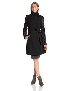 Industries Needs — Vince Camuto Women's Funnel Neck Wool Coat with...