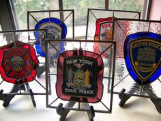 Custom Made Stained Glass Police and Fire Patch Panels by VFSGlass