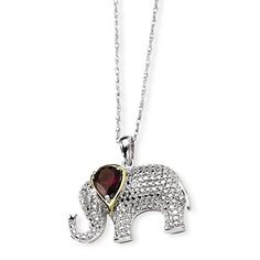 Sterling Silver & 14k Gold Garnet And Diamond Elephant Necklace