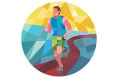 Marathon Runner Running Circle Low P - Illustrations - 1