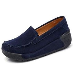 Comfortable Large Size Rocker Sole Suede Slip On Casual Shoes - NewChic Mobile Women's Shoes, Buy Nike Shoes, Platform Shoes, Slip On Shoes, Golf Shoes, Dress Shoes, Zapatillas Slip On, Buy Shoes Online, Fashion Shoes