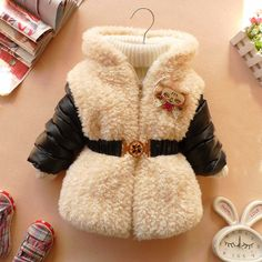 CHRISTMAS NEW YEAR baby girl clothes winter coat black red belt coat baby dress 12m-4T. $24.99, via Etsy.