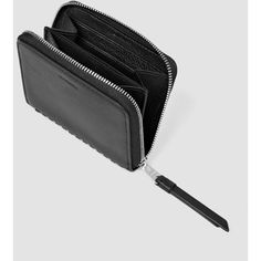 AllSaints Club Leather Coin Purse (6.305 RUB) ❤ liked on Polyvore featuring bags, wallets, black, allsaints, coin pouch wallet, coin pouch, change purse and coin purse