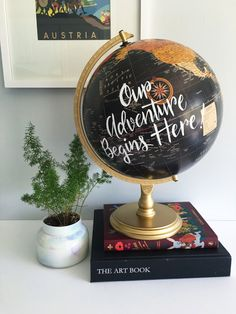 This listing is for a hand lettered custom quote 12 diameter globe for wedding guests to sign and/or home decor. Globe Specs: Black map oceans Continent map in warm tones *pictured with white hand lettered script centered over the Pacific Ocean. **Holds approximately 250 guest signatures** TURN AROUND TIME: Globes are made to order and will be ready to ship within 1 week of purchase. ************************************** •PLEASE NOTE• At time of check out please comment the below: Letter...