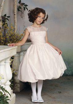 A-Line Scoop Neck Tea-Length Taffeta With Beaded Flower Girl Dresses