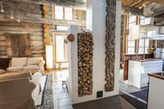 Stylish, luxury log cabin on three levels, in popular Levi. Luxury Log Cabins, Cottage Interiors, Mirror, Ranch, Furniture, Home Decor, Ideas, Guest Ranch, Decoration Home
