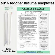 slp teacher resume and cover letter templates fully editable - Speech Pathology Resume