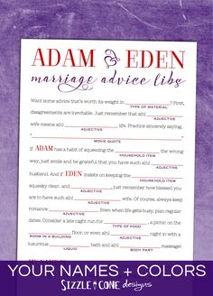 Wedding Mad Lib Marriage Advice Guestbook - Custom Printable Or ...