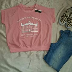"""Sweatshirt pink top (NWT) PINK Short sleeve sweatshirt, crew neckline, graphic print on center front. FABRIC: 55% cotton 45% polyester, relax lose fit,  woman size, Large measures: 25""""bust, 24"""" L, 23.5"""" W. Made in China.  Sizes: small,  medium, large. ?PLEASE ASK AND WILL CREATE YOUR OWN LISTING TO PURCHASE FROM. ?BUNDLE AND SAVE 10% OFF 2 OR MORE. Ellison Tops Sweatshirts & Hoodies"""