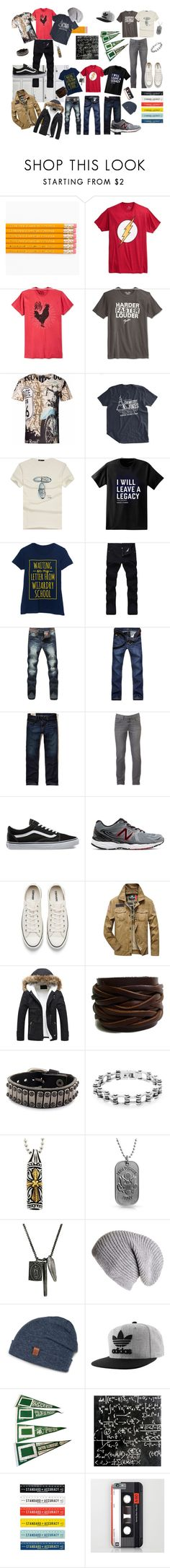 """""""School Daze II"""" by jwcabell ❤ liked on Polyvore featuring Bioworld, Univibe, Lucky Brand, Paul Frank, Hollister Co., Urban Pipeline, Vans, New Balance, Converse and West Coast Jewelry"""