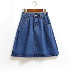 New Fashion All Match Basic Simple College Wind Denim Skirt