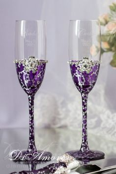 Plum & Silver Wedding Champagne Flutes from the от DiAmoreDS